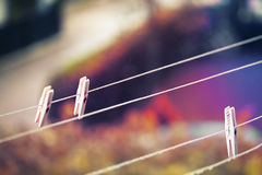Clothespins on clothesline Royalty Free Stock Photo