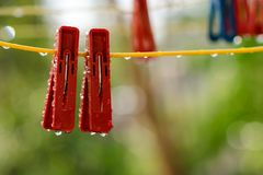Clothespins on the clothesline Stock Photography