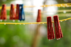 Clothespins on the clothesline Stock Images