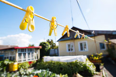 Clothespins on a Clothesline Stock Photography
