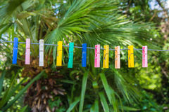 Clothespins. Colored clothespins for hanging out in the shoes Stock Image
