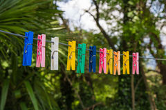 Clothespins. Colored clothespins for hanging out in the shoes Royalty Free Stock Photography