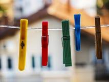 Clothespins coloridos Imagen de archivo libre de regalías