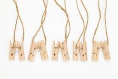 Clothespins de madera Imagen de archivo libre de regalías