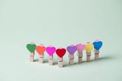 Clothespins em uma fileira Fotografia de Stock