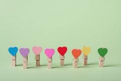Clothespins em uma fileira Imagens de Stock Royalty Free