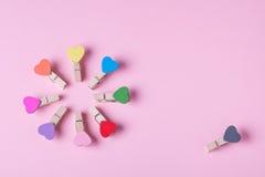 Clothespins em uma fileira Fotos de Stock