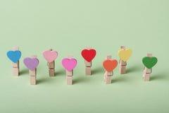 Clothespins em uma fileira Foto de Stock Royalty Free