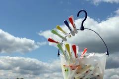 Clothespins en una cesta Fotos de archivo libres de regalías