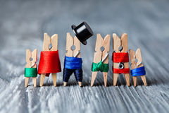Clothespins Family portrait. Concept. Playground family. Abstract: The family of linen clothespins. Man, woman with child. Family portrait. Concept. Playground royalty free stock photo