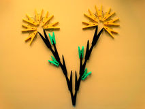 Clothespins in the form of plants. Creative mind Stock Photos