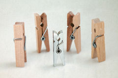 Clothespins heroes. difference concept Royalty Free Stock Photo