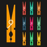 Clothespins, Icons Set, Colorful Isolated On Black Background, Vector Illustration. Royalty Free Stock Image