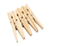 Clothespins isolados Fotografia de Stock