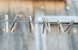 Clothespins on a Line Royalty Free Stock Image