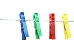 Clothespins multicolores Fotos de archivo libres de regalías