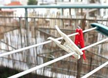 Clothespins na balkonie Obrazy Royalty Free