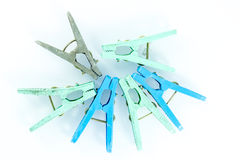 Clothespins na białym tle Obrazy Royalty Free