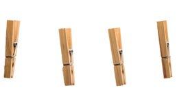 Clothespins na białym tle Zdjęcia Royalty Free