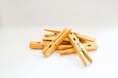 Clothespins na białym tle Obraz Royalty Free