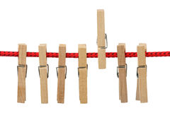 Clothespins na corda Fotografia de Stock