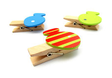 Clothespins pegs with fishes Stock Photos