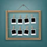 Clothespins pegs  Photo Frames and Picture Frame on Rope Royalty Free Stock Photos