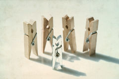 Clothespins. Playground People. Opposition, Difference Concept Royalty Free Stock Images