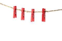 Clothespins rojos Imagen de archivo