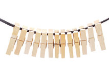 Clothespins and rope Royalty Free Stock Photo