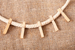 Clothespins on rope Royalty Free Stock Image