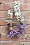 Clothespins on rope Stock Images