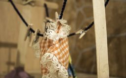 Clothespins on rope. With towel, washing and hanging Royalty Free Stock Image
