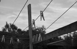Clothespins on the rope. Moscow region, Russia Royalty Free Stock Photos