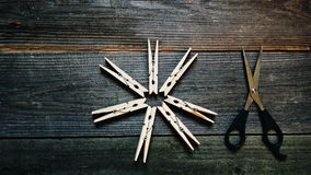 clothespins and scissors Stock Photos