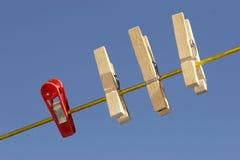 Clothespins sulla riga Fotografia Stock Libera da Diritti