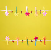 Clothespins thread spring backround. High resolution photo. Royalty Free Stock Photos