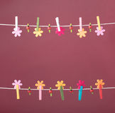 Clothespins thread spring backround. High resolution photo. Royalty Free Stock Image