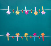 Clothespins thread spring backround. High resolution photo. Stock Images