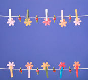 Clothespins thread spring backround. High resolution photo. Stock Photos