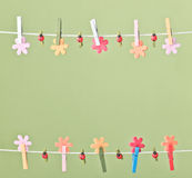 Clothespins thread spring backround. High resolution photo. Royalty Free Stock Images