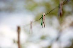 Clothespins viejos Foto de archivo