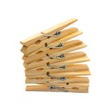 Clothespins. On a white background isolated Stock Photo