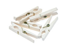 Clothespins. Wooden clothespins on a white background stock photos