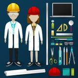 Clothin dell'uniforme dell'operatore dello scienziato o del tecnico di ingegneria del laboratorio illustrazione vettoriale