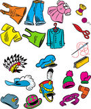 Clothing. The figure shows some types of hats, clothing and sewing in a cartoon style Royalty Free Stock Photography
