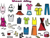 Clothing. Vector women´s clothing on white background stock illustration