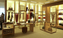Clothing and accessories boutique interior. Interior view of a luxury clothing and accessories boutique Royalty Free Stock Images