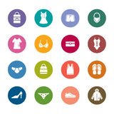 Clothing and Accessories Color Icons Royalty Free Stock Photos