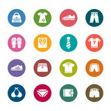 Clothing and Accessories Color Icons Stock Photography